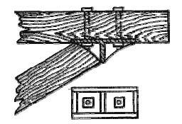 Соединение подбалки с подкосом при помощи чугунной подушки