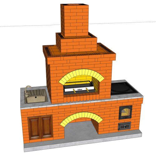 Порядовка барбекю с казаном из кирпича, файл 3D SketchUp