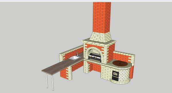 Проект мангала с казаном 3D SketchUp, здесь сможете скачать файл в формате .skb