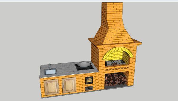 Уличный комплекс барбекю, файл 3D SketchUp