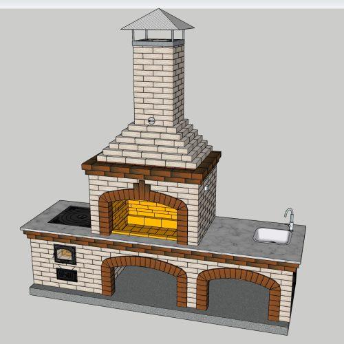 Проект барбекю с печью под казан с двойным зубом, файл в формате 3D SketchUp