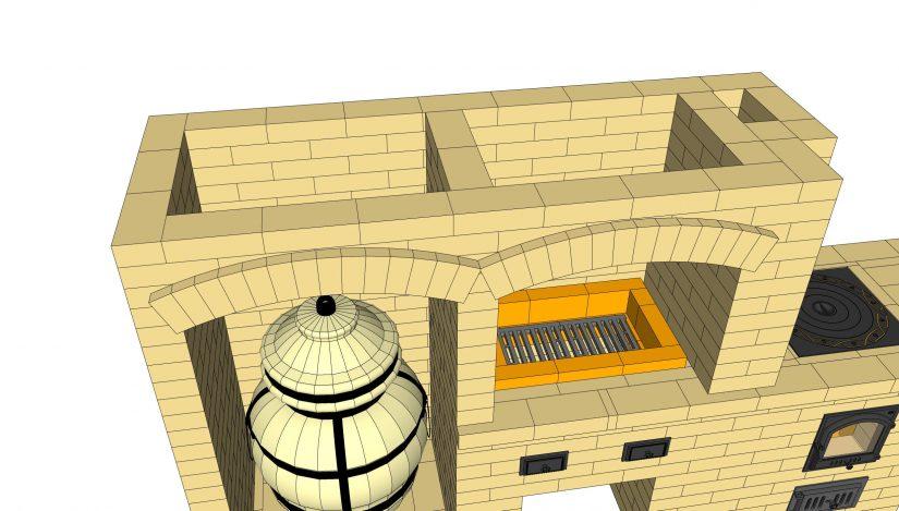 Проект барбекю с тандыром своими руками, показаны арки у комплекса