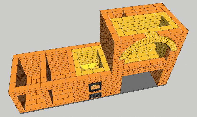 Уличный комплекс барбекю, арка из шамотного кирпича