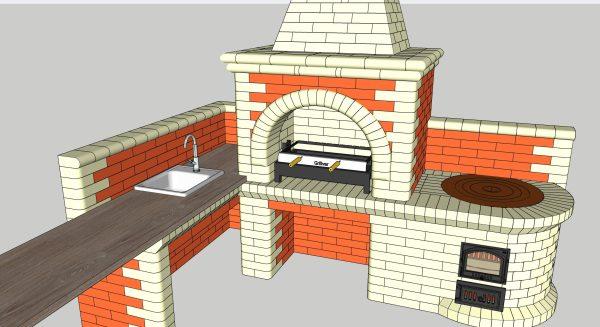 Проект мангала с казаном с мангальной вставкой Инбрик 765 AIR