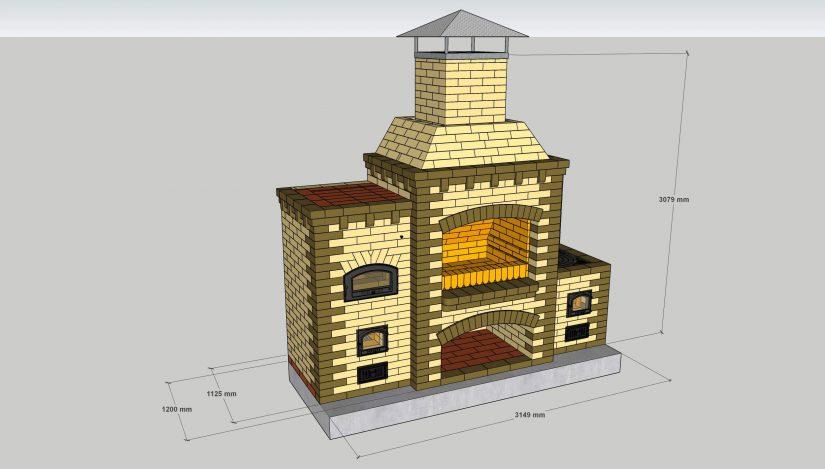 Проект комплекса барбекю с русской печью