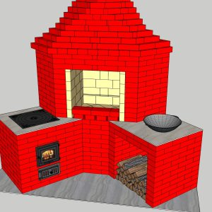 Угловой мангал с печью под казан, файл 3D SketchUp