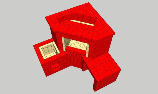 Угловой мангал с печью под казан в формате 3D