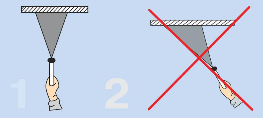 Окрашивая поверхность потолка методом пульверизации