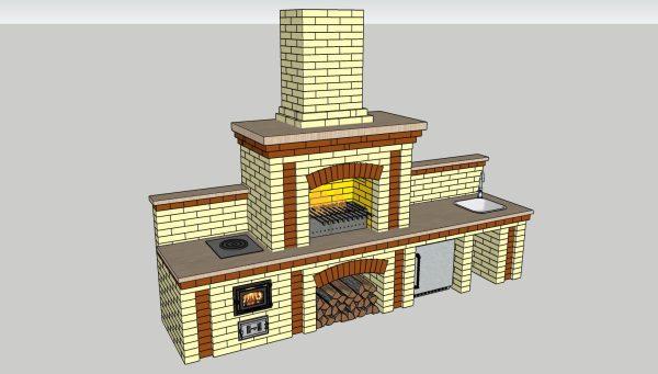 Порядовка комплекса барбекю в формате 3D