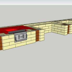 Порядовка комплекса барбекю в формате 3D, положено 4 ряда красного кирпича