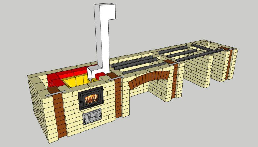 Порядовка комплекса барбекю 3D, положено 10 рядов кирпича