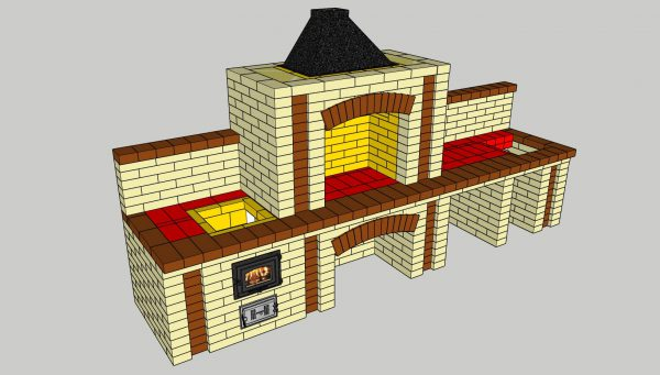 Порядовка комплекса барбекю в формате 3D, положено свыше 20 рядов облицовочного кирпича