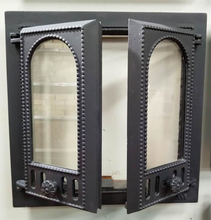 чугунная каминная дверца SVT 401, застекленная, 2-х створчатая