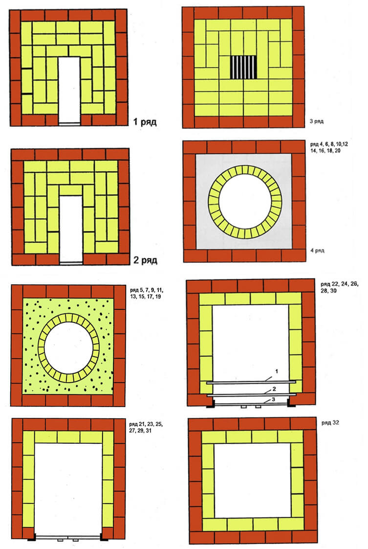 Схемы кладки печи – тандыра