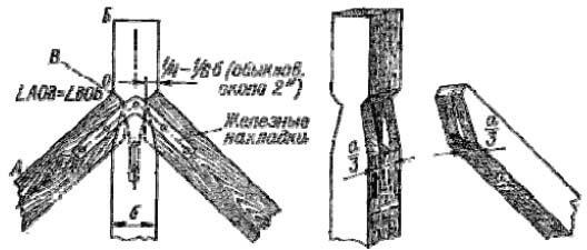 Врубка стропильных ног в бабку зубом с шипом